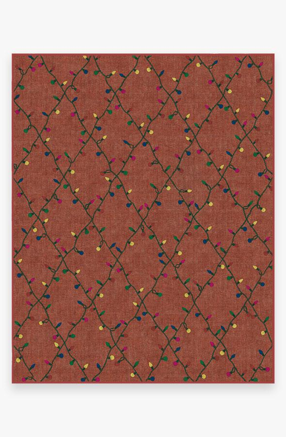 Washable Rug Cover | Holiday Lights Red Rug | Stain-Resistant | Ruggable | 8'x10'