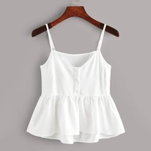 Plus Button Front Solid Cami Top