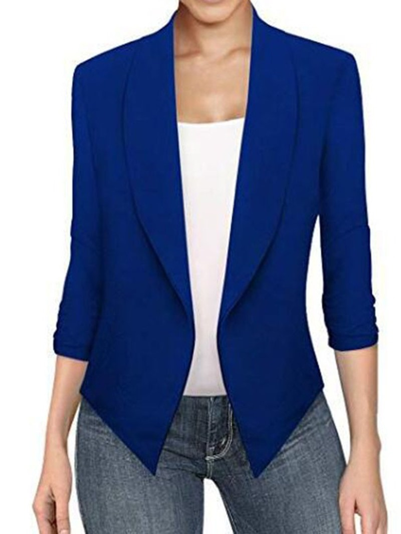 Ericdress Asymmetrical Lapel Long Sleeve Plain Office Lady Blazer