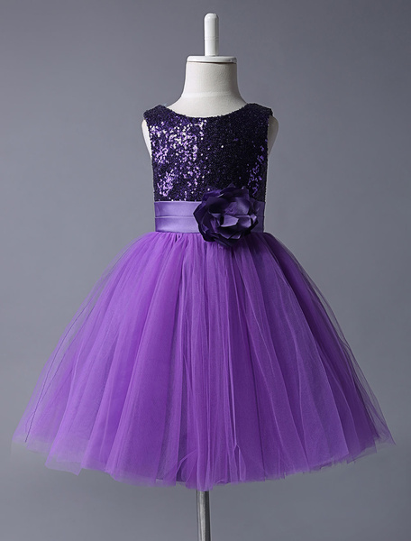 Milanoo Purple Flower Girl Dresses Sequined Bodice Tulle Tutu Dress Sleeveless Flower Sash Short Kids Party Dress