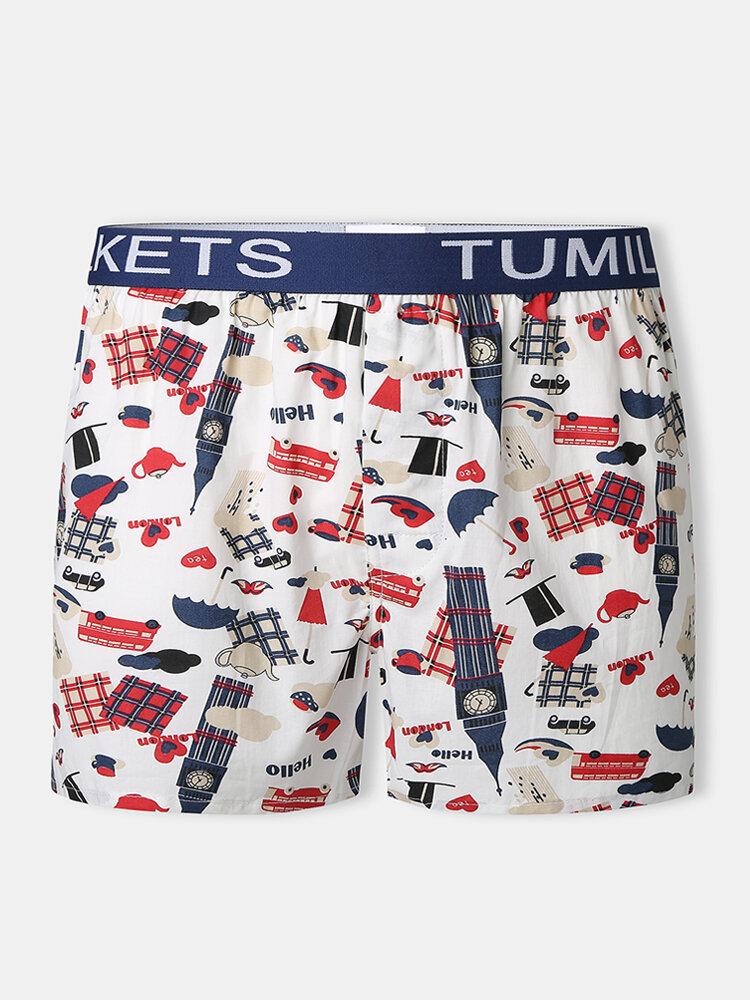Men Cotton Casual Underpants Vegetable & Cactus Print Breathable Boxer Briefs