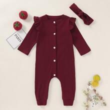 Baby Maedchen Strick Jumpsuit mit Knopfen vorn und Stirnband