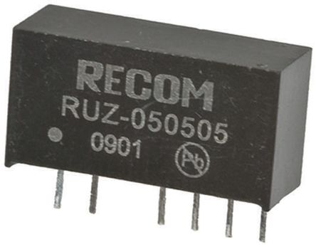 Recom RUZ 2W Isolated DC-DC Converter Through Hole, Voltage in 4.5 → 5.5 V dc, Voltage out 5V dc