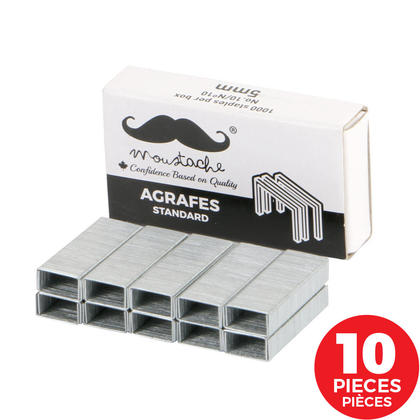 Agrafes, 1000 coups/boîte - Moustache® - 10/paquet, No.10, 5mm