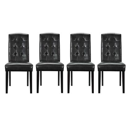 Perdure Collection EEI-3464-BLK Dining Chairs Vinyl Set of 4 in Black