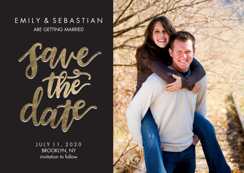 Save the Date 5x7 Cards, Premium Cardstock 120lb with Elegant Corners, Card & Stationery -Save the Date Gold Shimmer