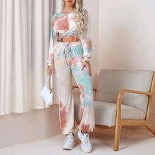 Crop Pullover mit Batik, Twist & Jogginghose mit schraegen Taschen