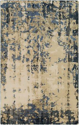 Hoboken HOO-1018 6' x 9' Rectangle Traditional Rug in Bright Blue  Dark Blue  Dark Brown  Khaki