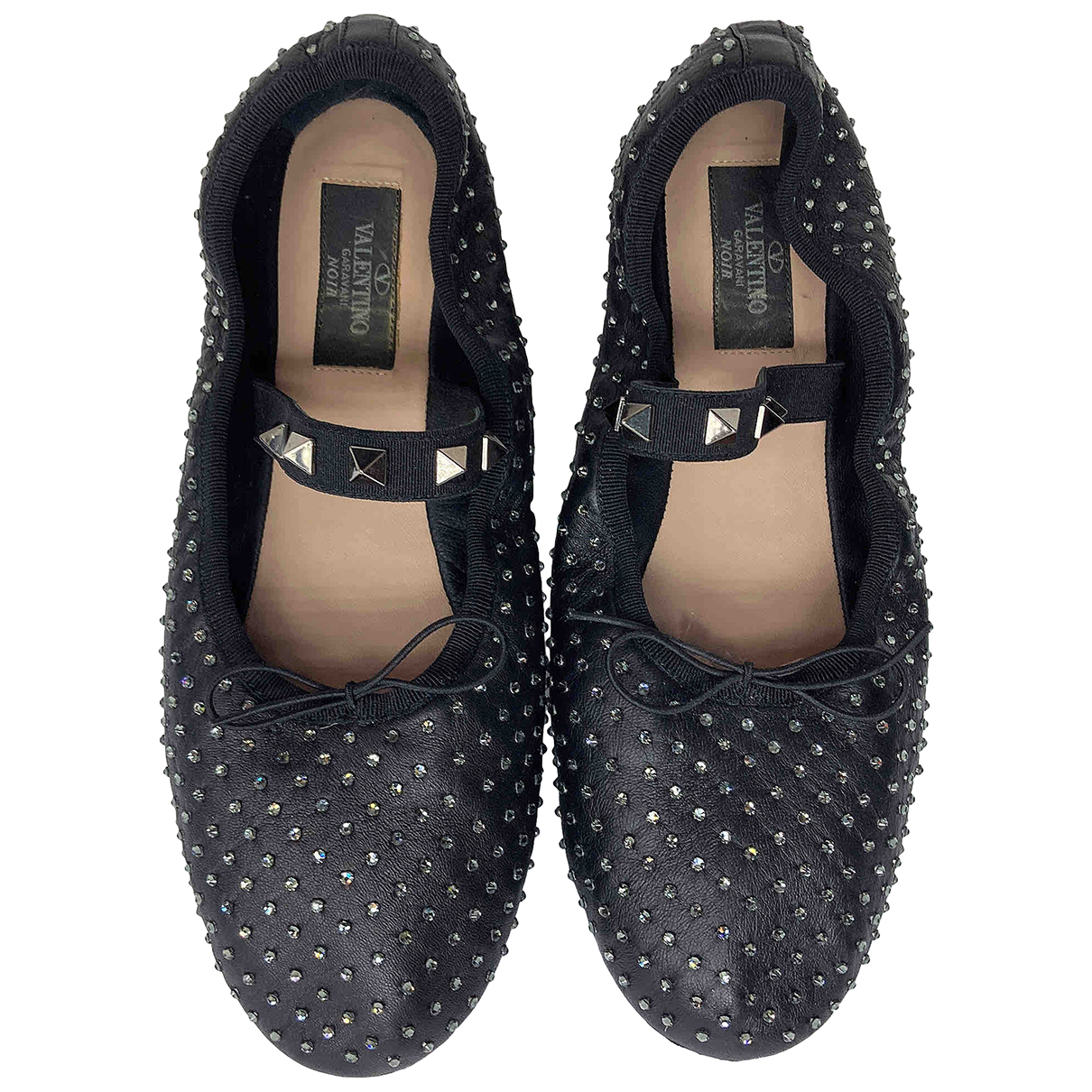 Valentino Garavani N Black Leather Flats for Women 38.5 EU