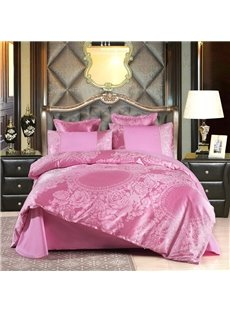 Pink Peony Floral Jacquard Luxury Style Cotton Silky 4-Piece Bedding Sets/Duvet Cover