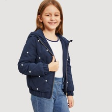 Girls Pearl Beading Quilted Hooded Jacket