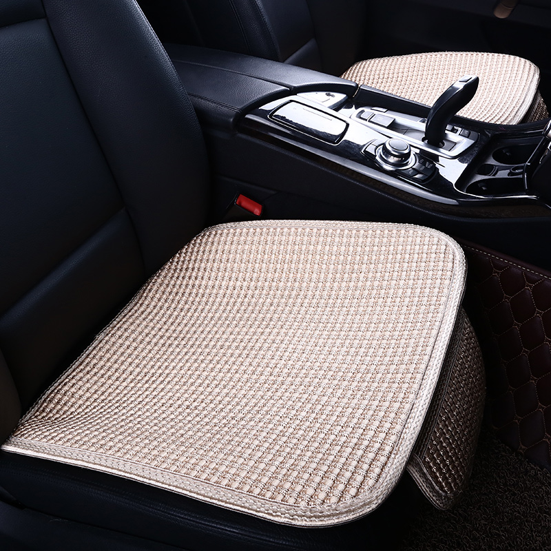 Linen Material Plain Pattern All Seasons Cotton Filler Universal Car Seat Cover