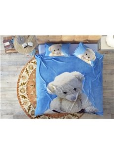 A White Doll Bear Under The Blue Sky Soft Wear-resistant Breathable High Quality 60s Cotton 4-Piece 3D Bedding Sets