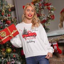 Christmas & Slogan Print Drop Shoulder Pullover