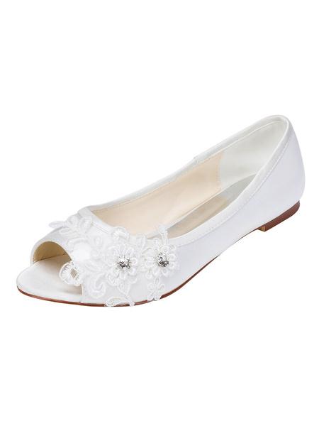 Milanoo Satin Wedding Shoes White Peep Toe Beaded Flat Bridal Shoes