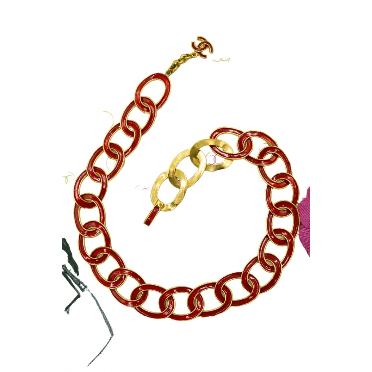 Chanel Baroque Kette in  Rot Metall