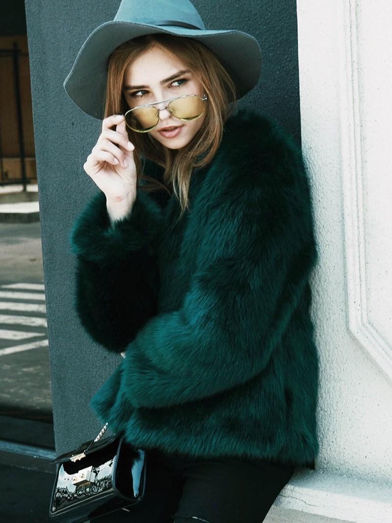 Ericdress Loose Plain Faux Fur Coat