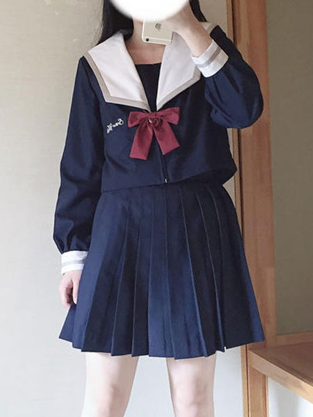 Milanoo Sailor Style Lolita Outfit Snow White Bow Blue Long Sleeve Top With Pleated Skirt