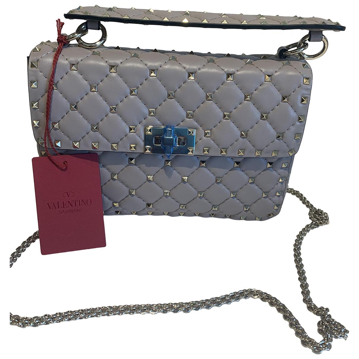 Valentino Garavani Rockstud spike Grey Leather handbag for Women \N