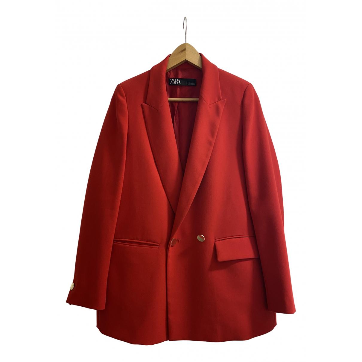 Chaqueta en Algodon Rojo Zara