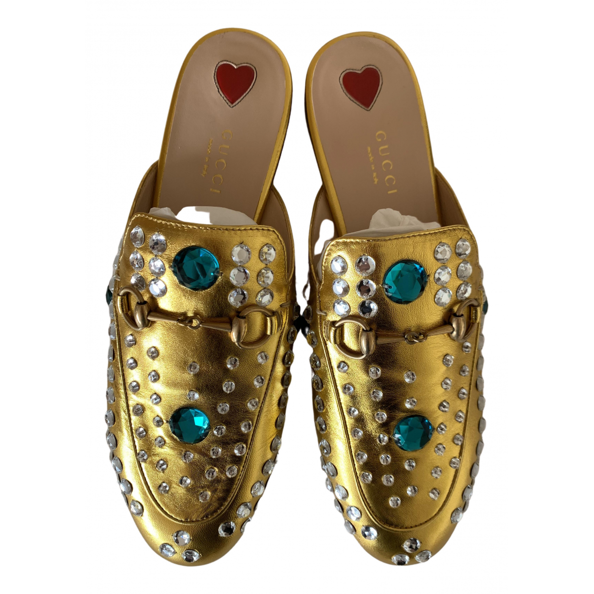 Gucci Princetown Gold Leather Flats for Women 37.5 EU