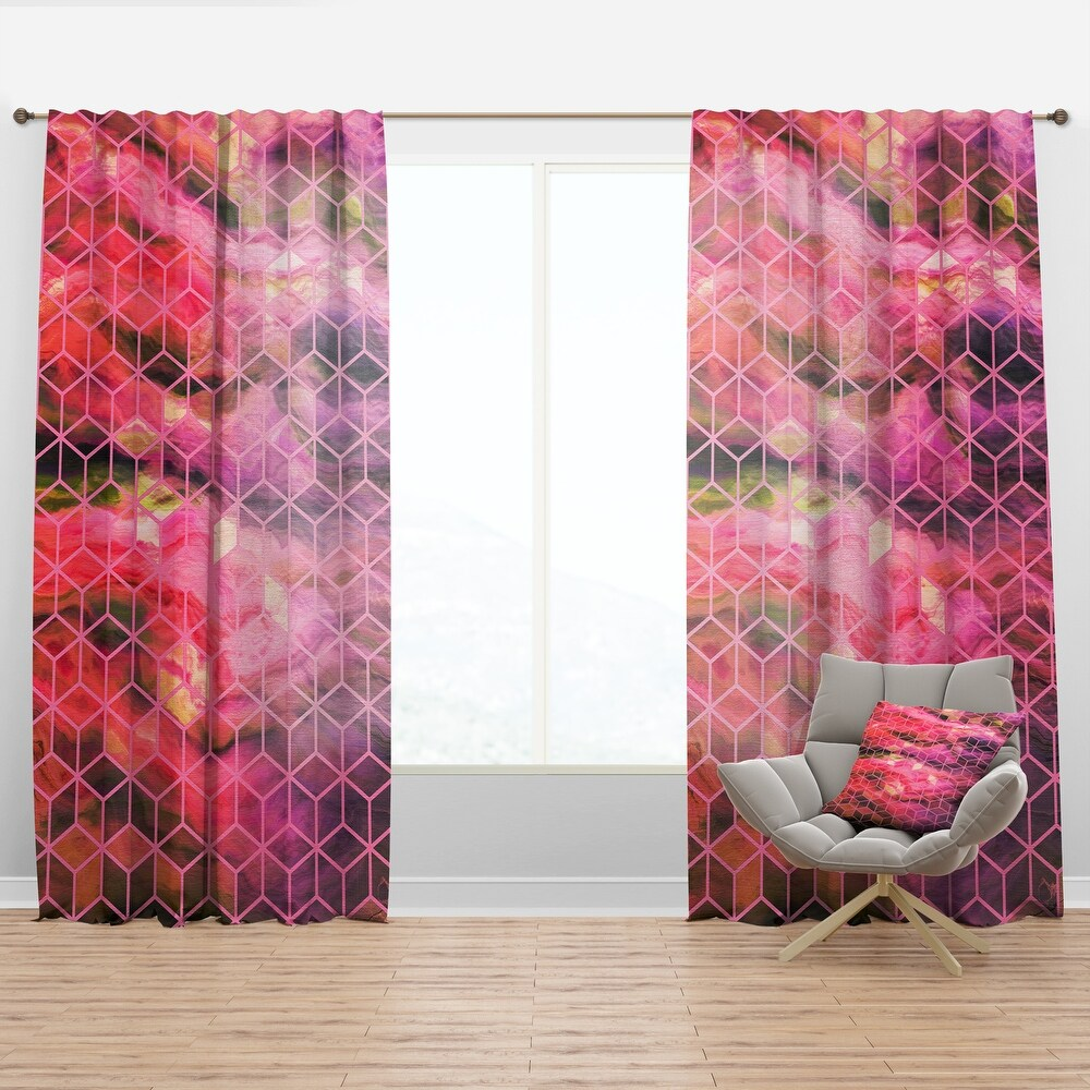 Designart 'Pink Cubes Structure of Marbled' Modern & Contemporary Curtain Panel (50 in. wide x 63 in. high - 1 Panel)
