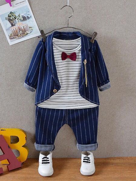 Milanoo Chicos Outfit Deep Blue Striped Jacket Pants y camiseta Top 3 piezas Set