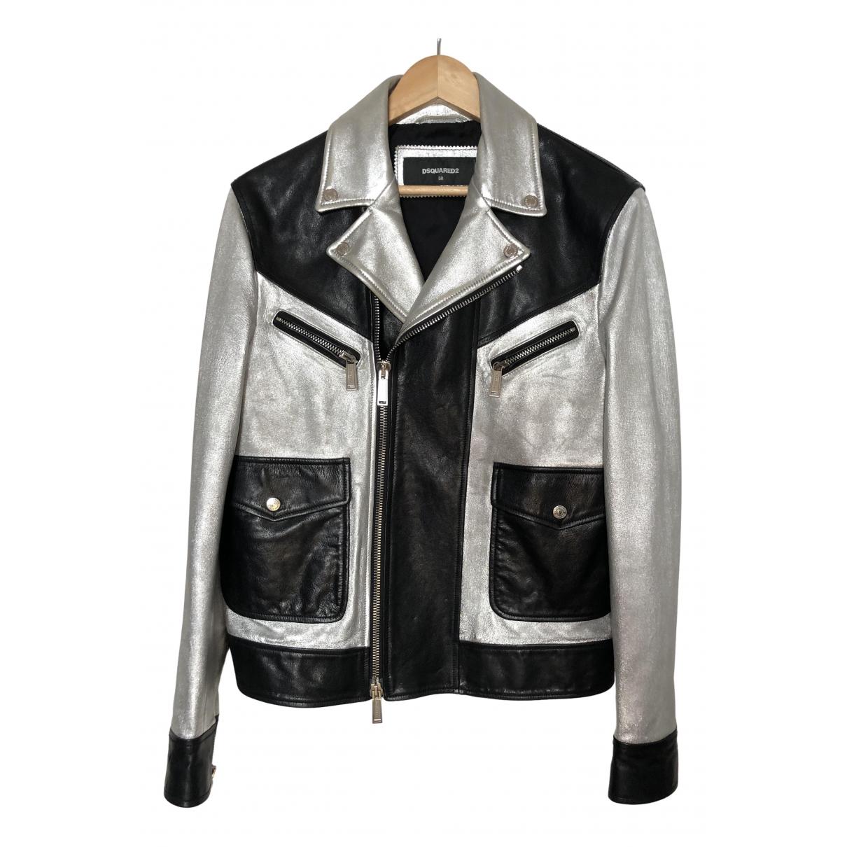 Dsquared2 N Silver Leather jacket  for Men L International