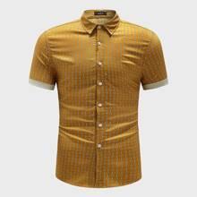 Maenner Hemd mit Manschetten und ueberallem Muster