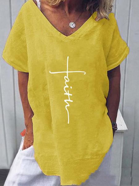 Milanoo Short Sleeves Tees White Polyester V-Neck Women T Shirt