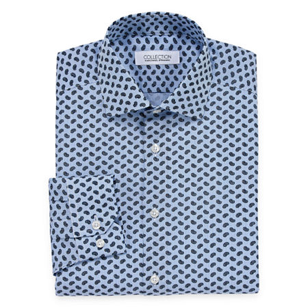 Collection by Michael Strahan Mens Spread Collar Long Sleeve Wrinkle Free Stretch Dress Shirt, 18 34-35, Blue