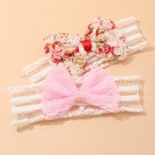 2pcs Toddler Girls Bow Decor Clear Headband