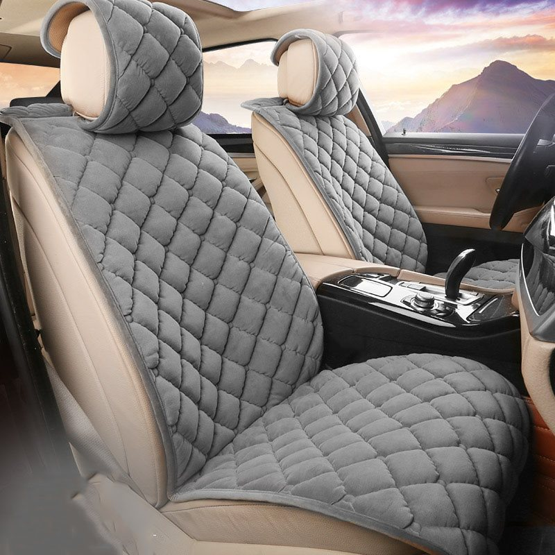 2 Front Seat Covers High Quality Short Plush Material Spring Autumn Winter Universal Fit Seat Covers