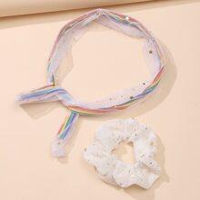 2 Stuecke Kopfband mit Stern Muster & Scrunchie