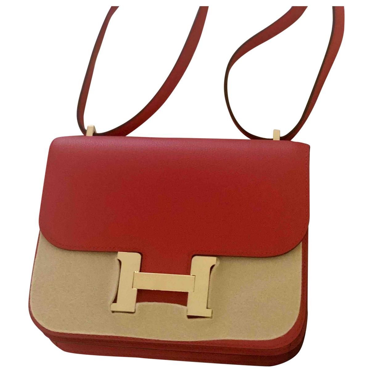 Hermes Constance Handtasche in  Rot Leder