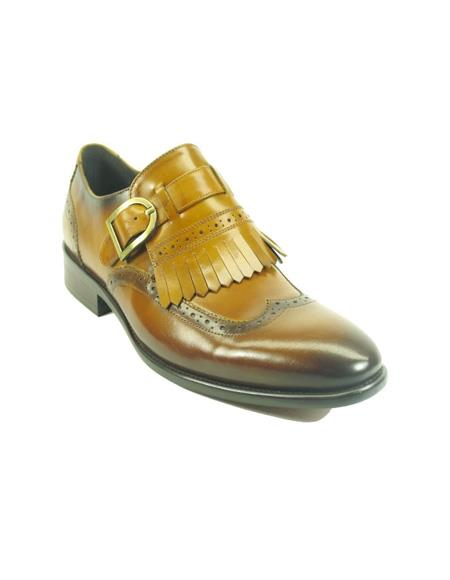 Mens Monk Strap Leather Loafers by Carrucci - Cognac