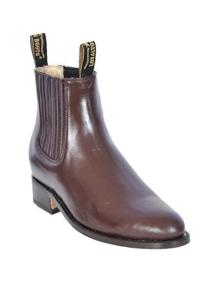 Los Altos Charro Botin Short Ankle Deer Light Brown Leather Boots