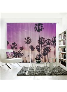 Seaside Sunset and Coconut Trees Pattern 3D Polyester Curtain