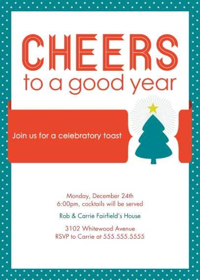 Christmas & Holiday Party Invitations 5x7 Folded Cards, Standard Cardstock 85lb, Card & Stationery -Cheers to the Holidays