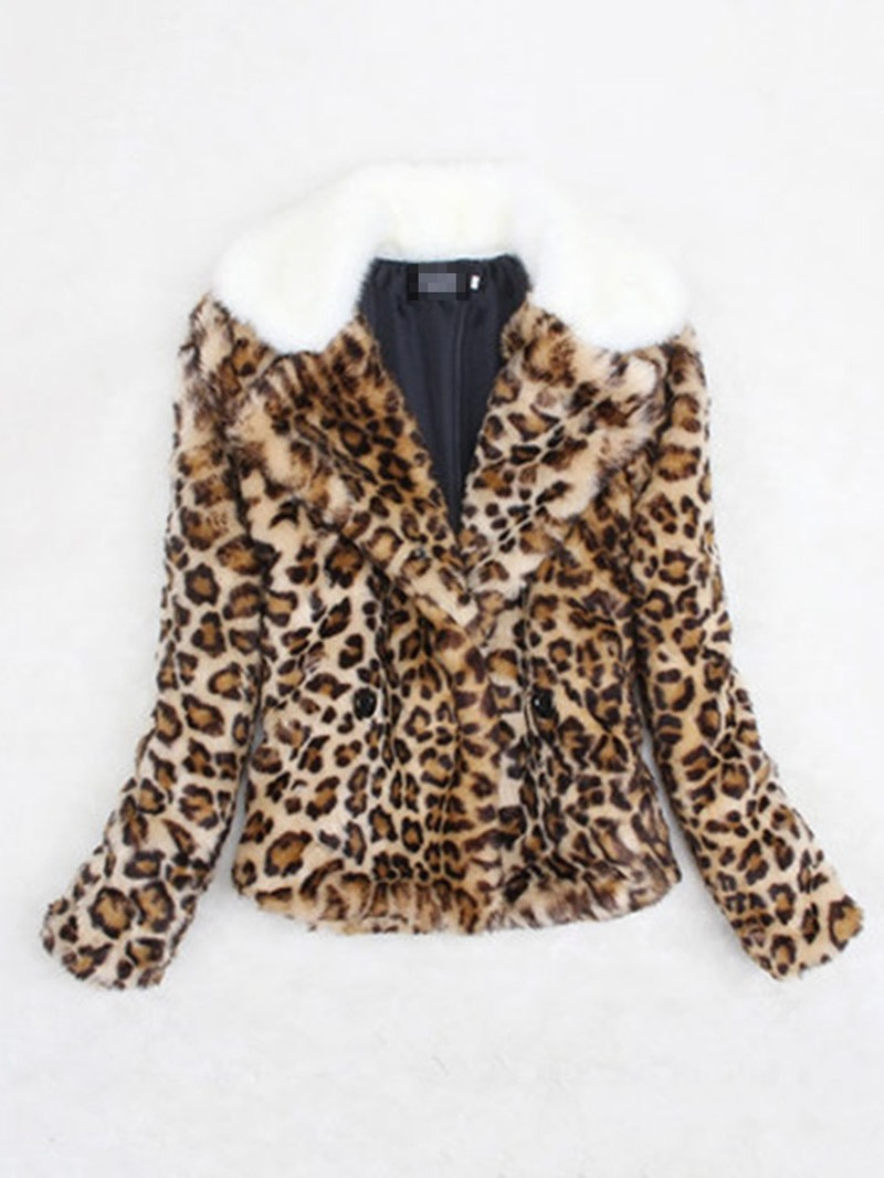 Ericdress Standard Leopard Slim Thick Womens Faux Fur Overcoat