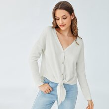 Buttoned Front Knot Hem Waffle Knit Tee