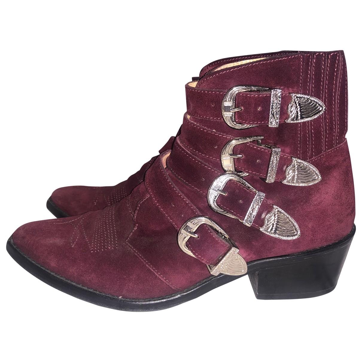 Toga Pulla - Boots   pour femme en suede - bordeaux