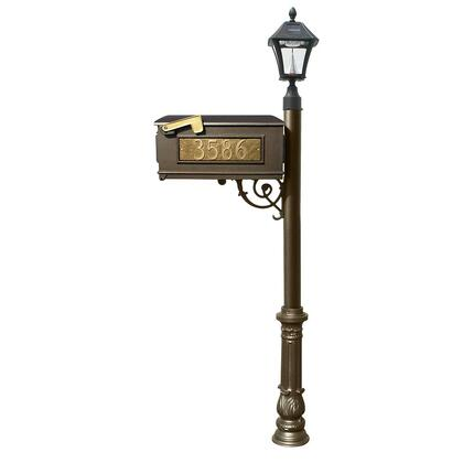 LMC-700-SL-BZ Lewiston Mailbox post system with Bayview Solar Lamp  3 cast aluminum personalized address plates and decorative ornate