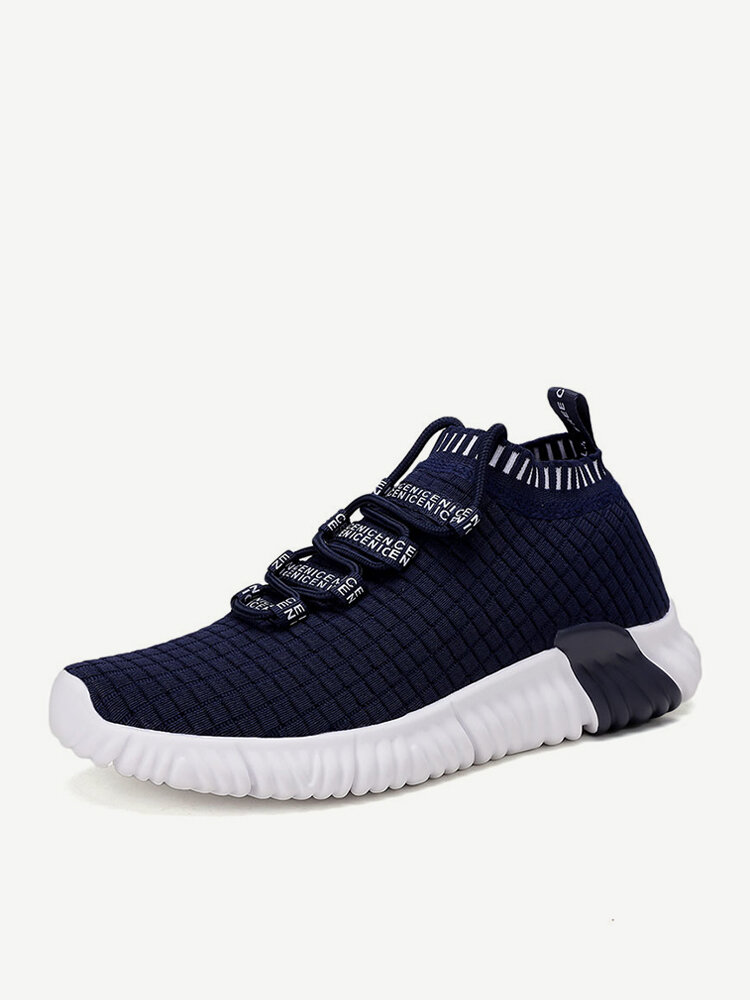 Men Knitted Fabric Breathable Comfy Soft Non Slip Running Sock Sneakers