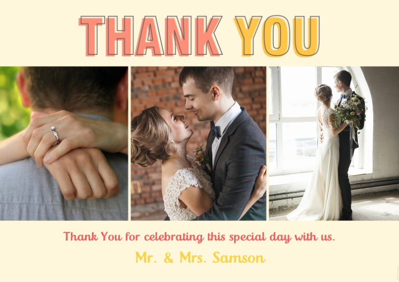 Wedding Thank You Flat Matte Photo Paper Cards with Envelopes, 5x7, Card & Stationery -Thank You