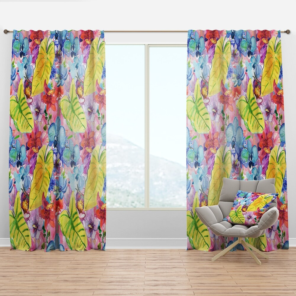 Designart 'Tropical Yellow Leaves and Blue and Red Flowers' Floral Curtain Panel (50 in. wide x 63 in. high - 1 Panel)