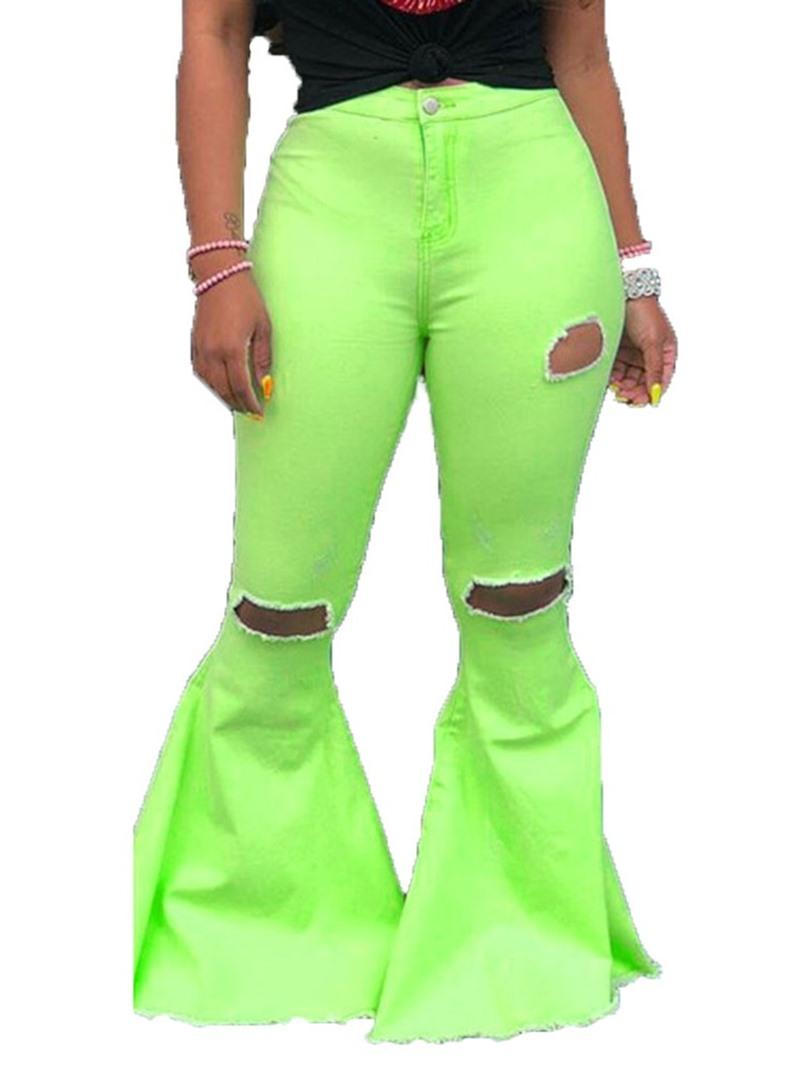 Ericdress Plain Hole Bellbottoms High Waist Skinny Jeans