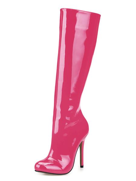 Milanoo Botas hasta la rodilla con pala de charol de puntera de forma de almendra blanco  12cm de tacon de stiletto con cremallera de patente