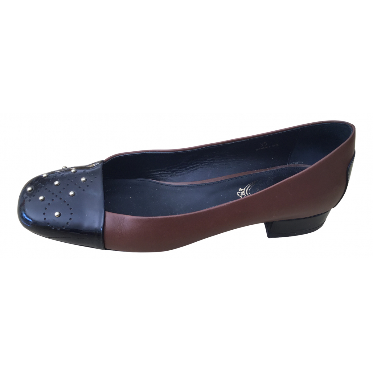 Tod's N Brown Leather Flats for Women 39 EU