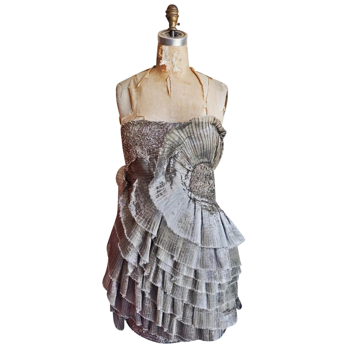 Marchesa \N Kleid in  Silber Mit Pailletten